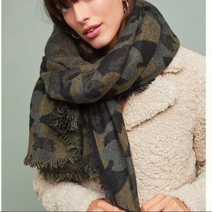 Anthropologie Camo Scarf Blanket Scarf